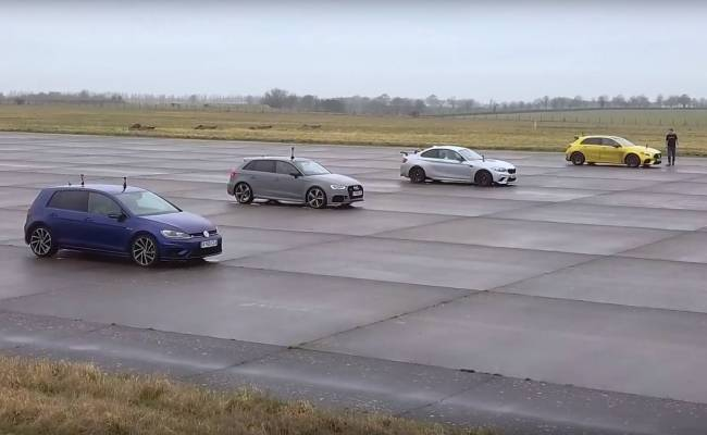 Автобаттл: Mercedes-AMG A45 S против BMW M2 Competition, Audi RS3 и VW Golf R (ВИДЕО)